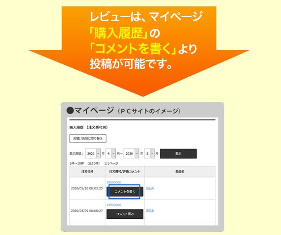 レビューは、マイページ「購入履歴」の「コメントを書く」より投稿が可能です。